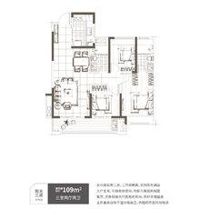 保利時代陽光三房戶型圖